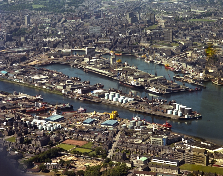 Aberdeen harbour and docks aerial view 1970s Fitzpatrick