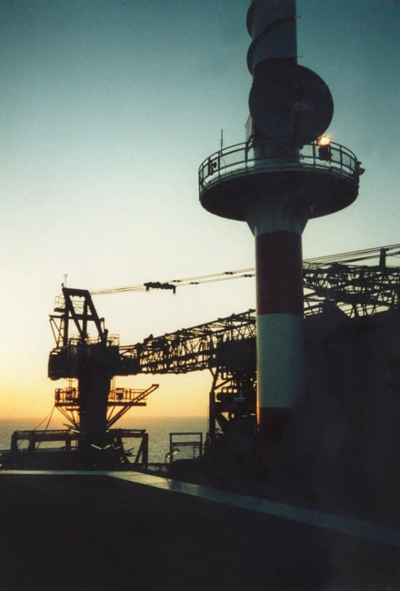 The radio tower on the Frigg MCP-01 platform at sunset, 1986