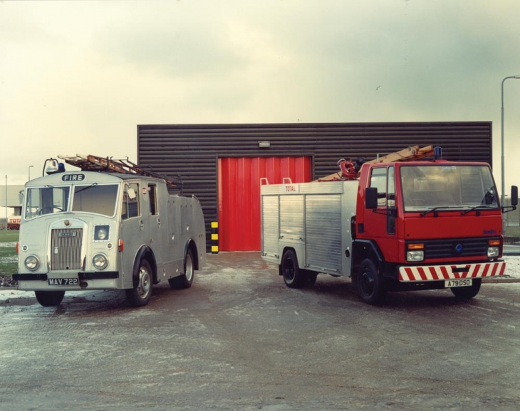 Fire engines stationed at St Fergus Terminal near Peterhead, Scotland, in the 1970s