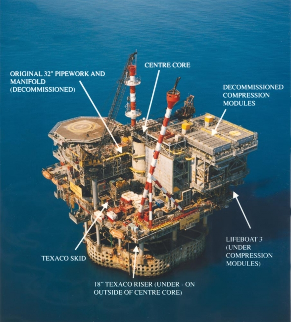 Labelled aerial view of Frigg gas platform in North Sea