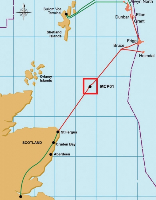 map showing location of Frigg gas field in North Sea