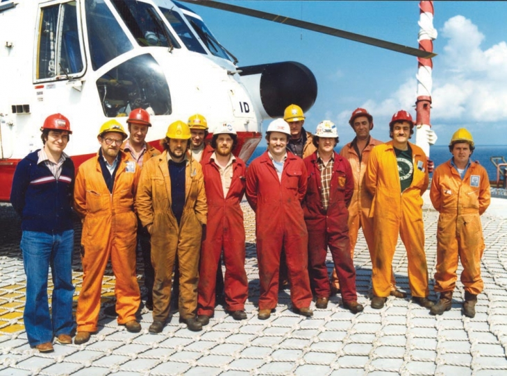 Some of the MCP-01 crew on the helideck, late 1980s - early 1990s